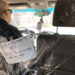 Car Isolation Film Anti-Droplets Transmission Fully Enclosed Transparent Self-adhesive Partition Curtain for Taxi SUV Commercial Vehicle